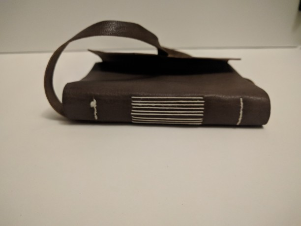 spine, long stitch book, leather